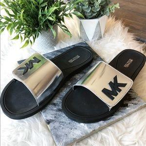 Michael Kors Silver Velcro Slides Sandals